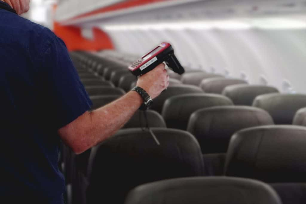 RFID scanner being used in plane